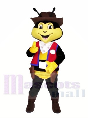 Cow-boy abeille avec rouge Gilet Mascotte Les costumes Animal