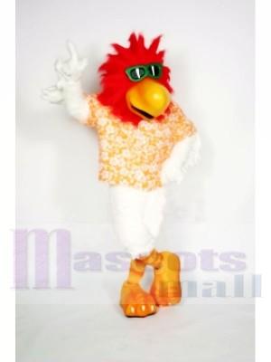 Cool Coq avec rouge Cheveux Mascotte Les costumes Animal