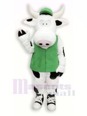 Mignonne Vache avec vert Gilet Mascotte Les costumes Dessin animé