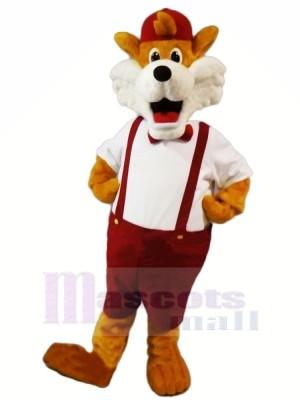 Marrant Renard avec rouge Chapeau Mascotte Les costumes Dessin animé