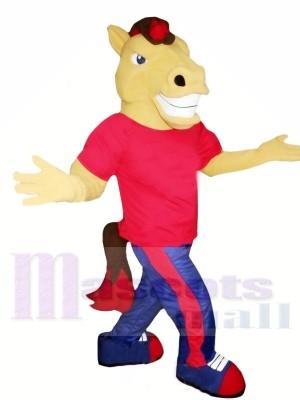marron Cheval avec rouge T-shirt Mascotte Les costumes Animal