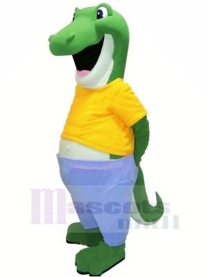 Heureux Alligator avec Jaune T-shirt Mascotte Les costumes Adulte