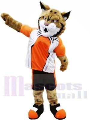 Lynx avec Orange Costume Mascotte Les costumes Animal