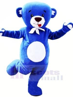 Heureux Bleu Ours Mascotte Les costumes Dessin animé