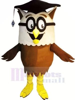 Érudit Hibou avec Des lunettes Mascotte Les costumes Animal