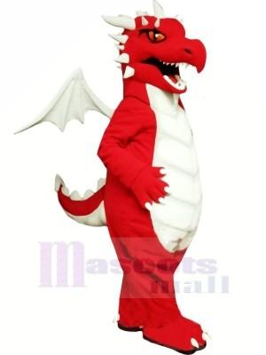 rouge Dragon avec blanc Ailes Mascotte Les costumes Dessin animé