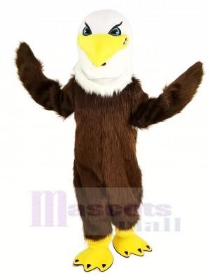 Féroce marron Aigle Longue Cheveux Mascotte Costume Animal