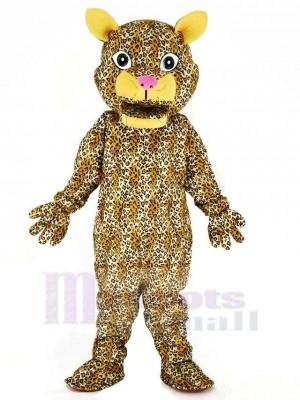 Saut Léopard Mascotte Costume Dessin animé