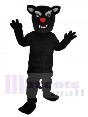 Féroce Noir Panthère avec rouge Nez Mascotte Costume