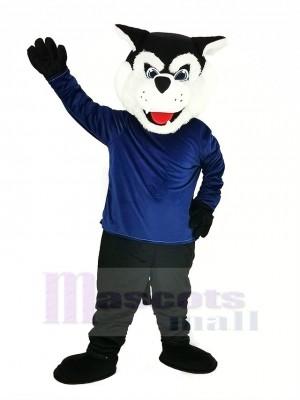 Noir Bearcat Binturong avec Bleu Manteau Mascotte Costume Animal