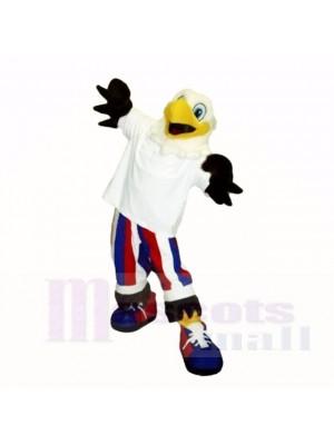 Souriant blanc Liberté Aigle Costumes De Mascotte Dessin animé