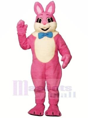 Rose Souriant lapin Mascotte Les costumes Pas cher