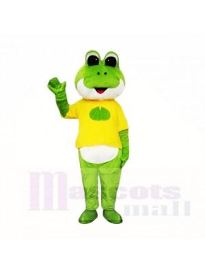 vert La grenouille avec Jaune Chemise Costumes De Mascotte École