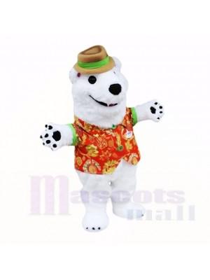 blanc Amical Poids léger Polaire Ours Costumes De Mascotte Dessin animé