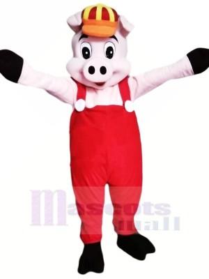 Peu Rose Porc Mascotte Les costumes Dessin animé