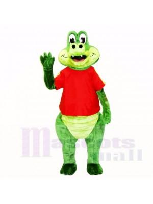 Amical Crocodile avec rouge Chemise Costumes De Mascotte Dessin animé