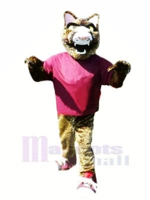 Féroce Jaguar avec Violet T-shirt Mascotte Les costumes