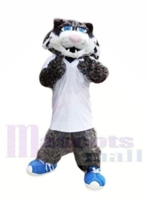 Gris Sauvage Chat avec Bleu Des chaussures Mascotte Les costumes Animal
