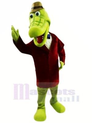 vert Crocodile avec Chapeau Mascotte Les costumes