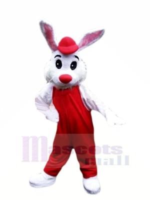 Charmant blanc lapin avec rouge Costume Mascotte Les costumes Pas cher