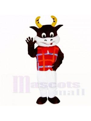 Amical Poids léger Vache avec rouge Chemise Costumes De Mascotte École
