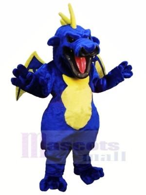 Féroce Bleu Dragon Mascotte Les costumes Dessin animé