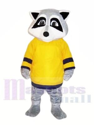 Mignonne Raton laveur avec Jaune T-shirt Mascotte Les costumes Animal