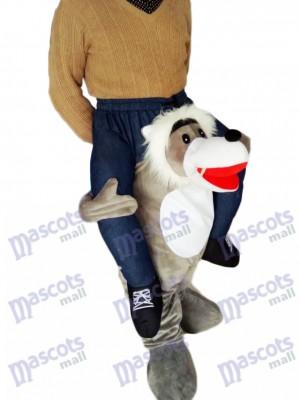 Costume de mascotte de loup gris de Carry Me Ride de Piggyback