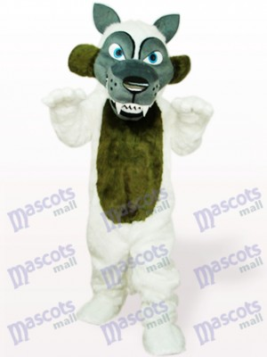 Costume de mascotte adulte blanc loup cheveux longs animaux