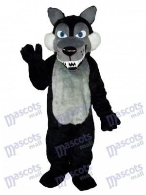 Longue La laine Gros Noir Loup Mascotte Costume Animal