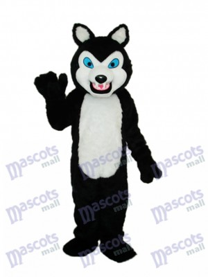 Long-haired Black Wolf Mascot Adult Costume