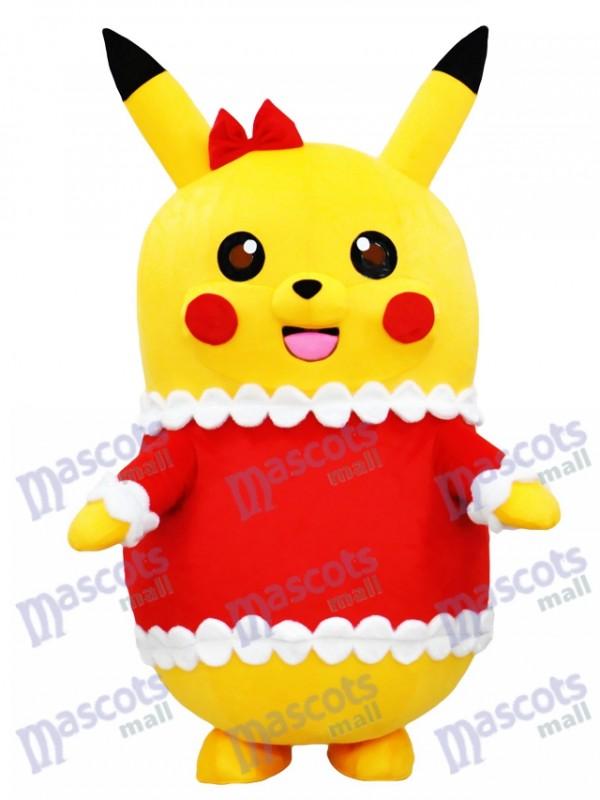 Pikachu Pokemon Pokémon Go Costume de mascotte en tenue de Noël avec l'arc rouge