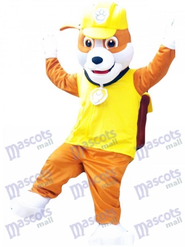 Anglais Bouledogue Construction Chiot Pat Patrouille Rubble Paw Patrol Mascotte Costume Jaune Chien