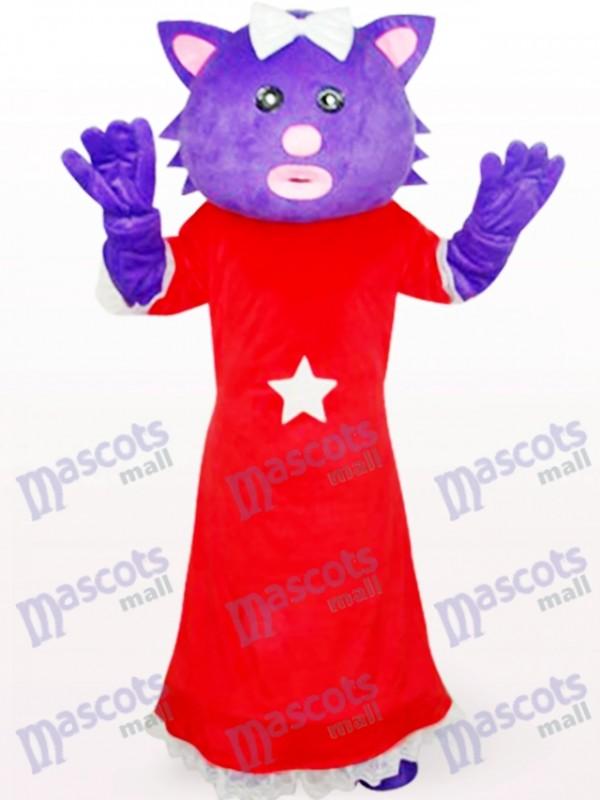 Costume de mascotte d'Anime pourpre d'ours de robe rouge femelle