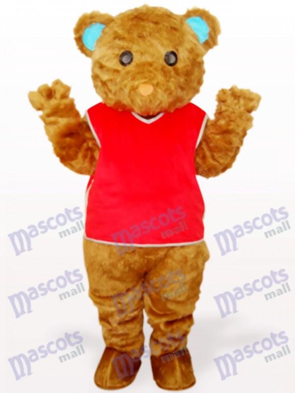 Ours à poils longs brun avec costume de mascotte animaux gilet rouge