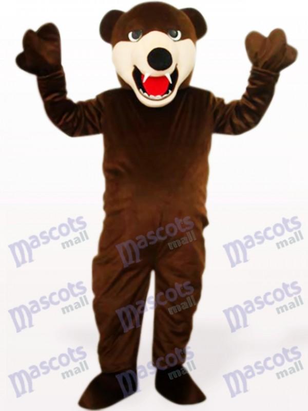Costume de mascotte d'animal brun foncé d'ours