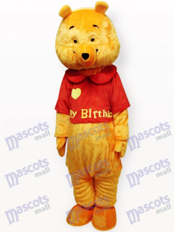 Costume de mascotte adulte de dessin animé d'ours jaune d'amour
