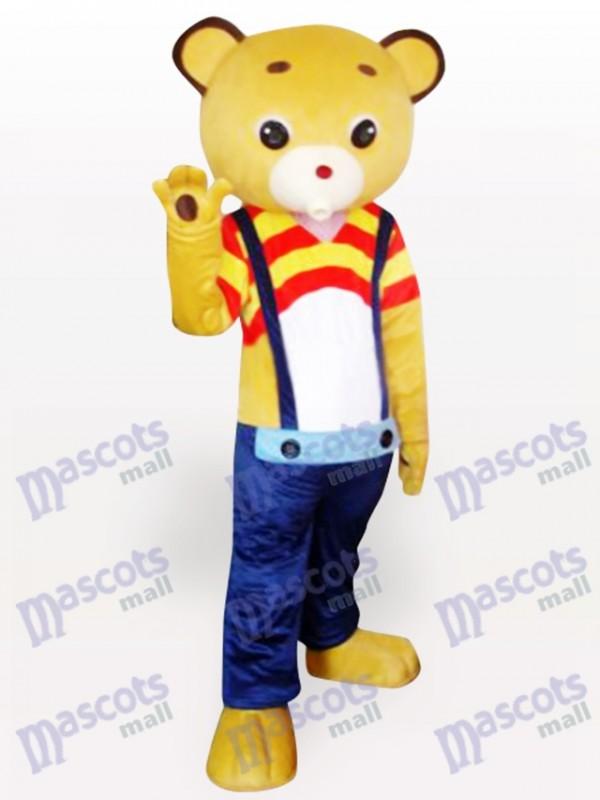 Costume de mascotte de dessin animé d'ours jaune de sangle