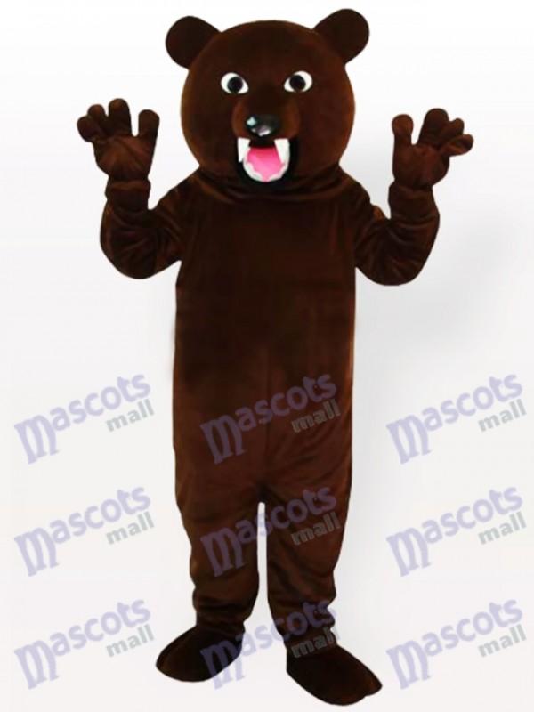 Costume de mascotte ours brun foncé