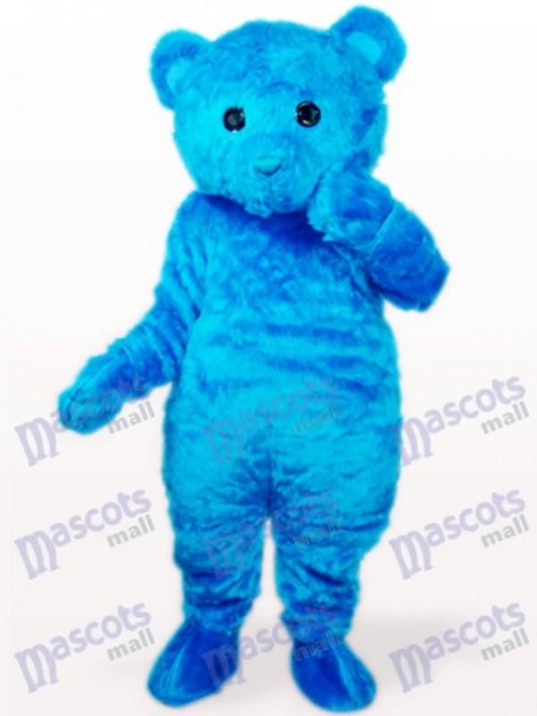 Déguisement mascotte animal ours bleu à longs cheveux