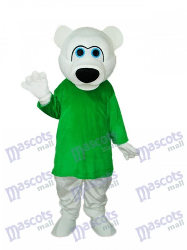 Chemise verte Costume adulte mascotte ours blanc Mascotte