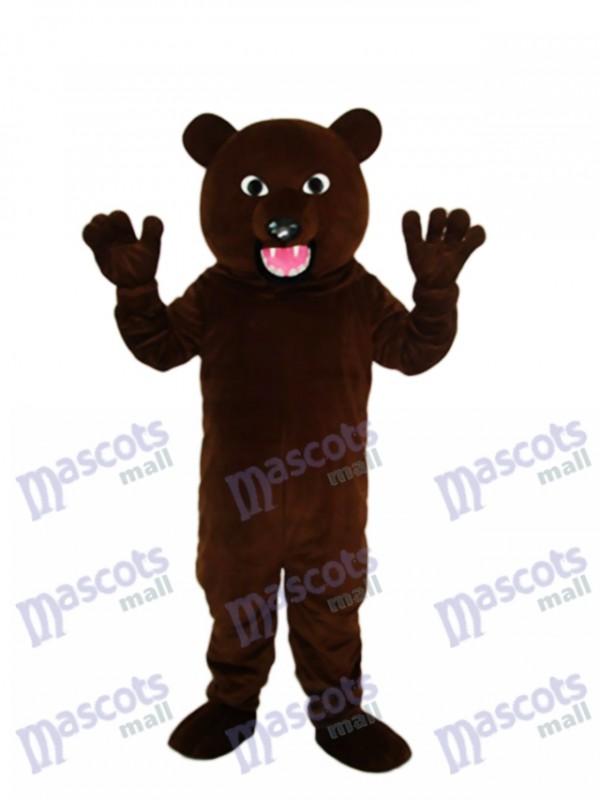 Ours brun noir avec costume de mascotte de dent forte pour animaux