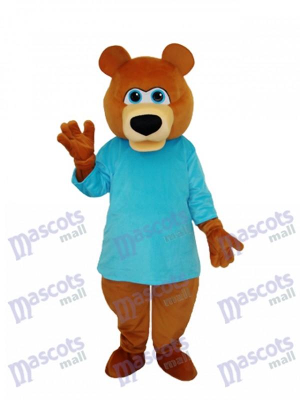 Mr.Bear en bleu t-shirt mascotte costume adulte animal