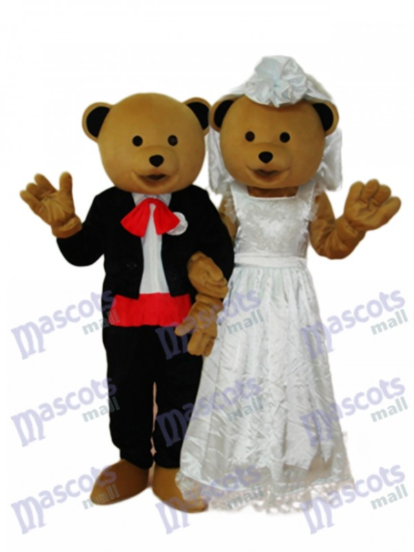 Ours de mariage Couple Mascotte Costume adulte Animal
