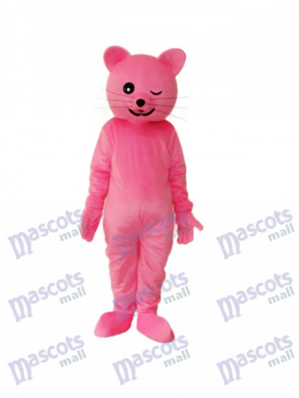 Costume adulte mascotte chat rose