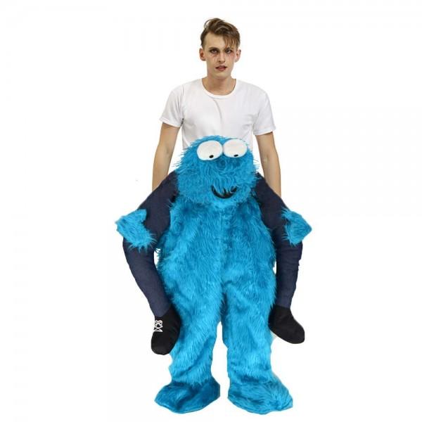 Elmo Porter moi Balade sur Sésame rue Bleu Monstre Halloween Noël Costume pour Adulte