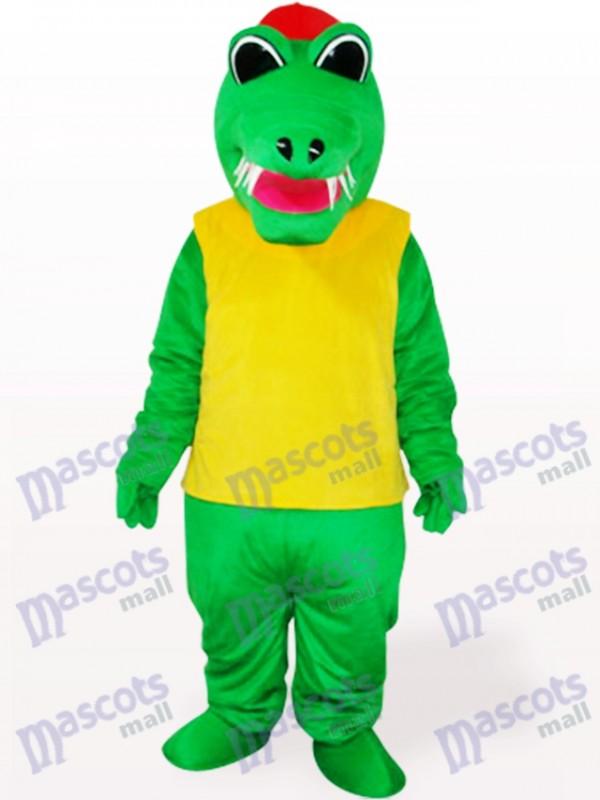 Costume de mascotte adulte crocodile vert et jaune d'Afrique