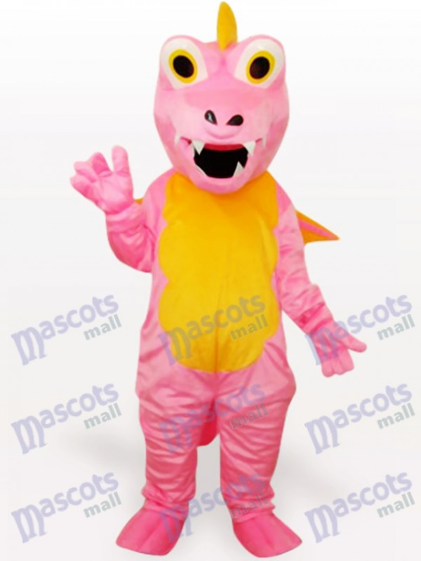 Costume drôle de mascotte adulte animal dinosaure rose