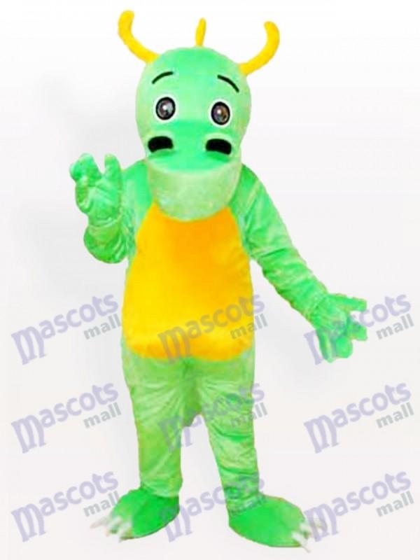 Déguisement de mascotte de dinosaure vert corné de Big Nose
