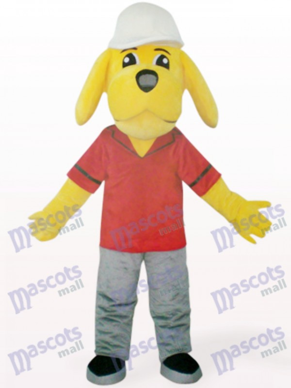 Costume de mascotte animal jaune vilain chien